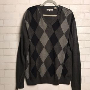 Alex Cannon Sweater V neck Argyle Large Grey